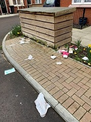 Rubbish over the road and pavement at Sunlight Mews, Westcliff On Sea