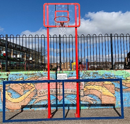 The brand new basketball hoop at the Woodgrange Drive Estate