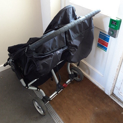 Callow House Storage Shed Before - A pushchair blocking the communal door