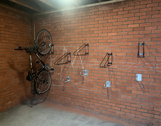 Inside view of the Granary Court bin store after its transformation into a bicycle store