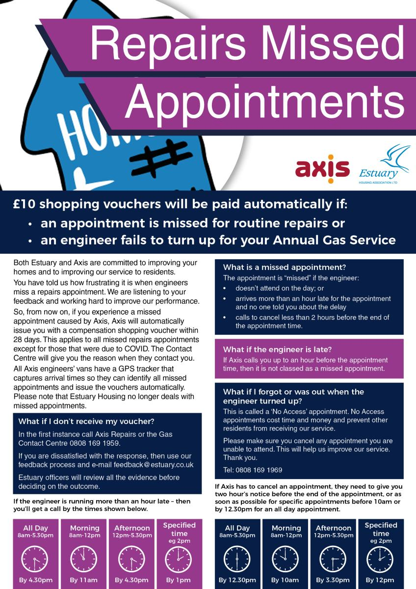Poster to accompany text in main screen - Missed Appointments