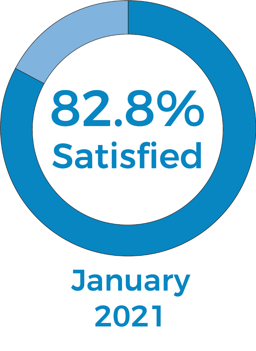 Pie chart showing 85.2% were satisfied in January 2021