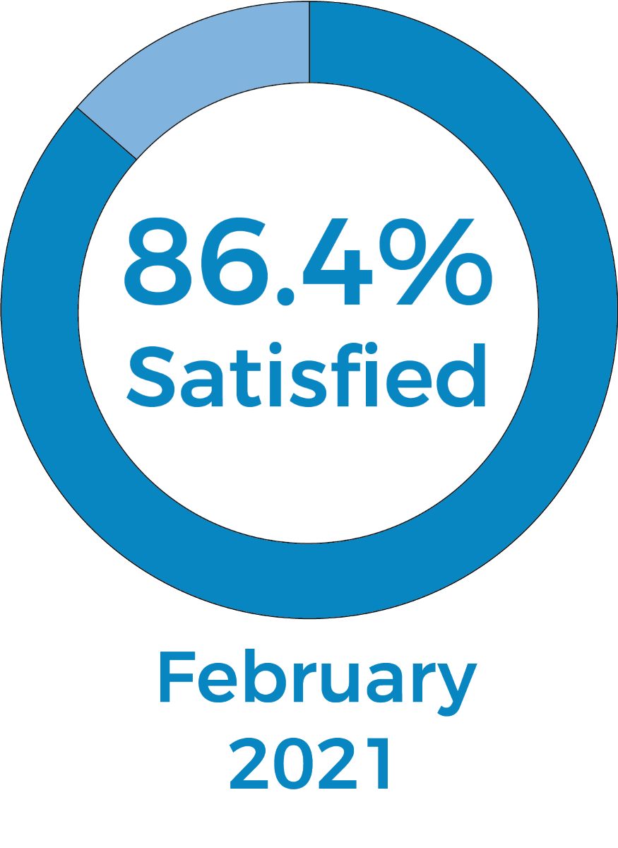 Pie chart showing 84.1% of 152 customers were satisfied in November 2020
