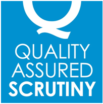 Quality Assured Scrutiny blue logo