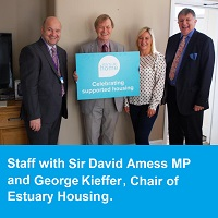 Photo of Staff with Sir David Amess MP and George Kieffer, Chair of Estuary Housing.