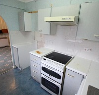 Photo of a kitchenette inside a flat at Oakham Court
