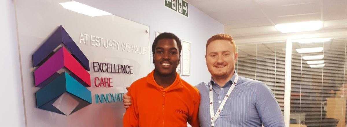 Picture of tenant Shaquille with employment office Jake Barnes